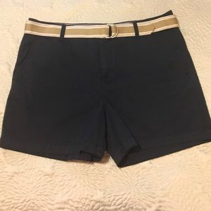 Tommy Hilfiger Woman Belted Navy Shorts Size 16